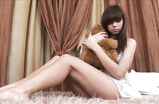Uber-sexy russian nubile disrobes on her bed