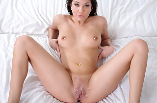 Sweetheart with pierced nips slurped and smashed