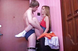 Junior college girl ash-blonde nailed from behind